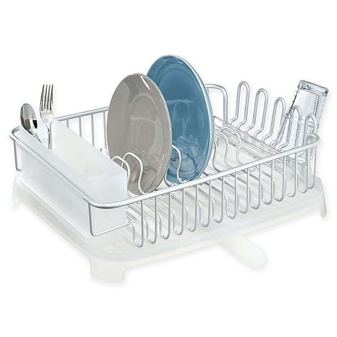 Alternate image 1 for Metro Aluminum Swivel Dish Drainer Set in Silver/Frost