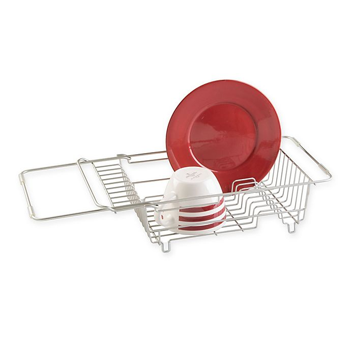 Alternate image 1 for iDesign® Classico Steel Over Sink Dish Drainer in Satin
