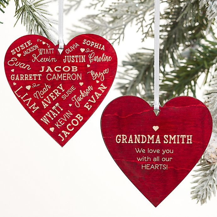 Alternate image 1 for Close To Her Heart Message Personalized 2-Sided Wood Christmas Ornament in Red