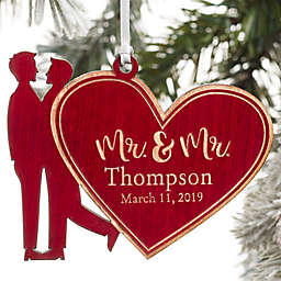 Mr. & Mr. Wedding Couple Personalized Wood Christmas Ornament