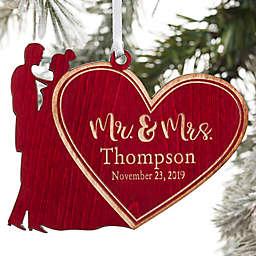 Mr. & Mrs. Wedding Couple Personalized Wood Ornament