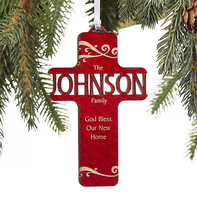 Alternate image 1 for Bless Our Family Personalized Wood Christmas Ornament in Red