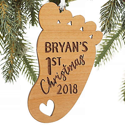 1st Christmas Baby Footprint Personalized Ornament