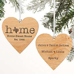 Home State Personalized 2-Sided Wood Christmas Ornament