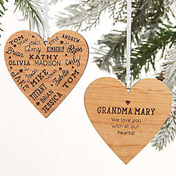 Close To Her Heart Message Personalized 2-Sided Wood Christmas Ornament
