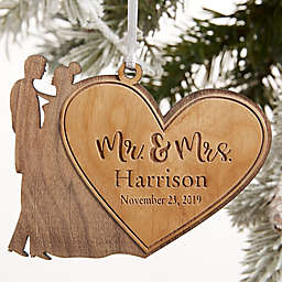 Mr. & Mrs. Wedding Couple Personalized Wood Ornament