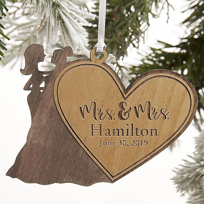 Alternate image 1 for Mrs. & Mrs. Wedding Couple Personalized Wood Ornament