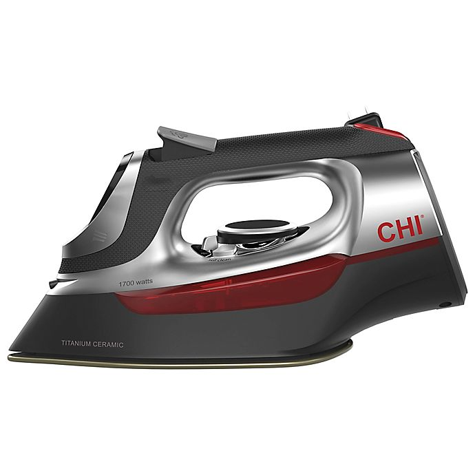 Alternate image 1 for CHI® Electronic Iron with Retractable Cord in Black/Red