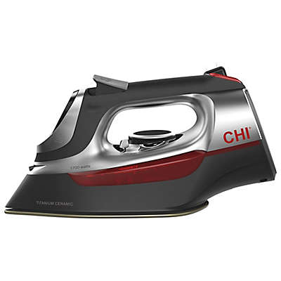 CHI® Electronic Iron with Retractable Cord in Black/Red