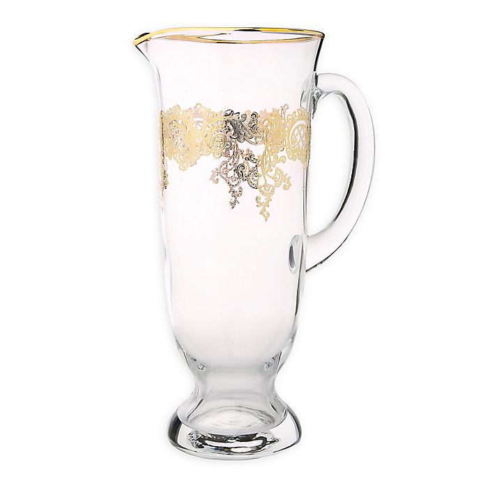 Alternate image 1 for Classic Touch Vivid Collection Glass Pitcher in Gold