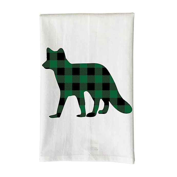 Love You A Latte Christmas Green Plaid Fox Kitchen Towel In