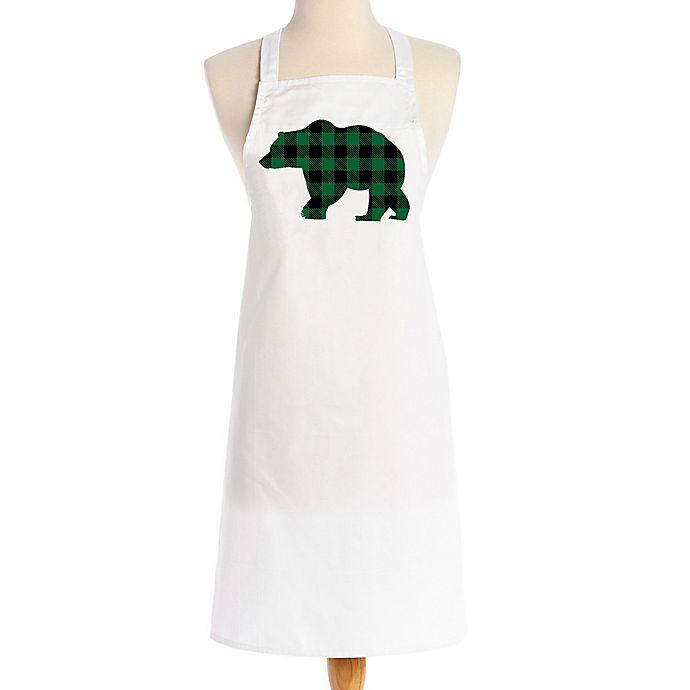 Alternate image 1 for Love You a Latte Shop Christmas Green Plaid Bear Apron