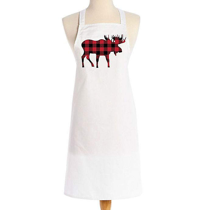Alternate image 1 for Love You a Latte Christmas Red Plaid Moose Apron