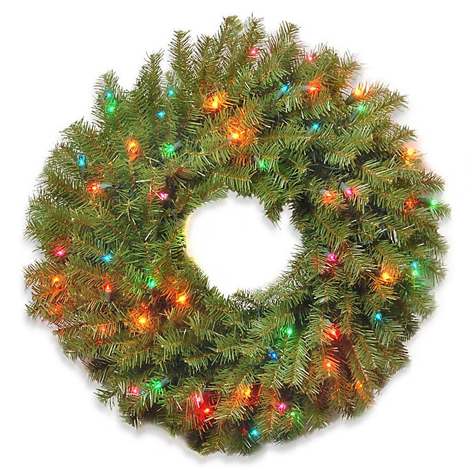 Alternate image 1 for National Tree Company Pre-Lit Norwood Fir Wreath with Multicolor Lights