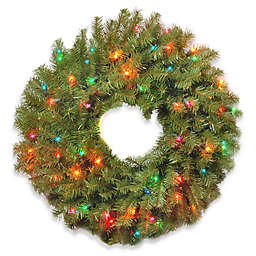 National Tree Company 24-Inch Pre-Lit Norwood Fir Wreath with Multicolor Lights