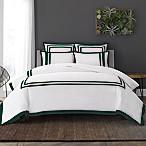 Wamsutta® Hotel Border MICRO COTTON® Full/Queen Duvet Cover Set in White/Forest