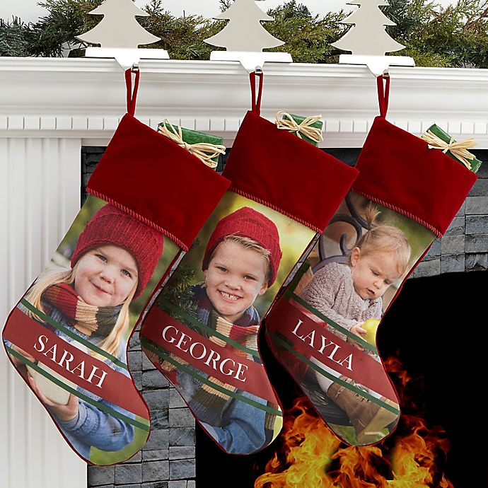 Alternate image 1 for Holly Jolly Smile Personalized Photo Christmas Stocking