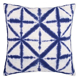 Shibori Geometric Square Throw Pillow in Indigo