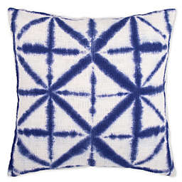 Shibori Geometric Square Throw Pillow in Indigo