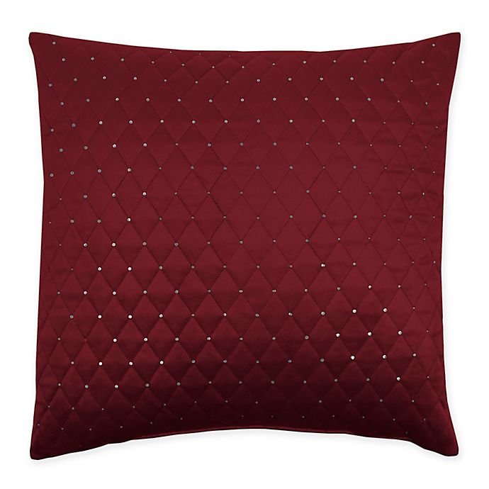 Alternate image 1 for Sherry Kline Dixon Embroidered 20-Inch x 20-Inch Velvet Throw Pillow with Sequins in Burgundy