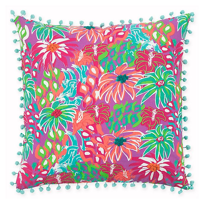 Alternate image 1 for Rizzy Home Floral 18-Inch Square Throw Pillow in Purple