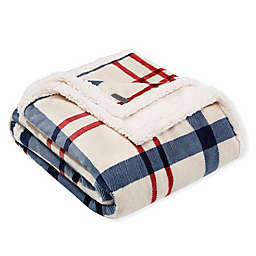 Eddie Bauer Cordove Plaid Plush Throw Blanket in Natural
