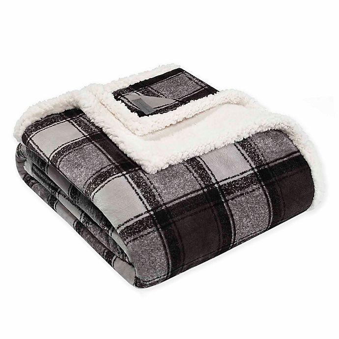 Alternate image 1 for Eddie Bauer Croton Plaid Plush Throw Blanket in Grey