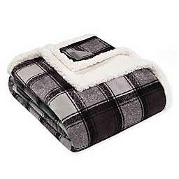 Eddie Bauer Croton Plaid Plush Throw Blanket in Grey