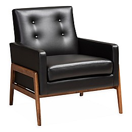 Baxton Studio® Faux Leather Upholstered Luba Chair in Black