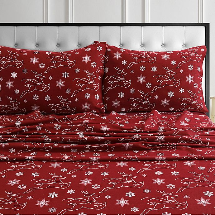 Tribeca Living Deer Flannel Sheet Set In Deep Red Bed Bath Beyond