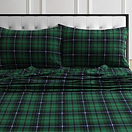 Tribeca Living® 170 GSM Charleston Plaid Flannel Sheet Set in Green
