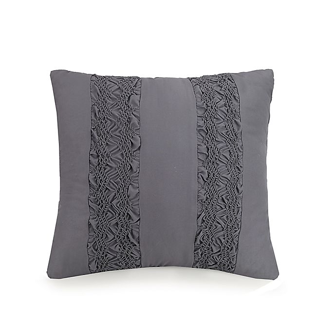 Alternate image 1 for Jessica Simpson Ruching Stripes Square Throw Pillow in Grey