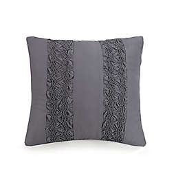 Jessica Simpson Ruching Stripes Square Throw Pillow in Grey