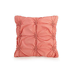 Jessica Simpson Rosette Ruching Square Throw Pillow in Coral