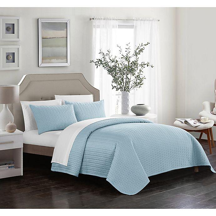 Alternate image 1 for Chic Home Platt Queen Quilt Set in Blue