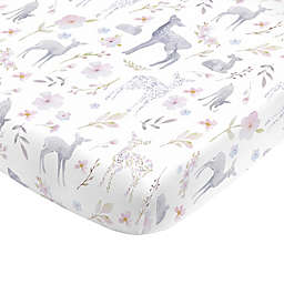 NoJo® Mini Floral Deer Fitted Crib Sheet