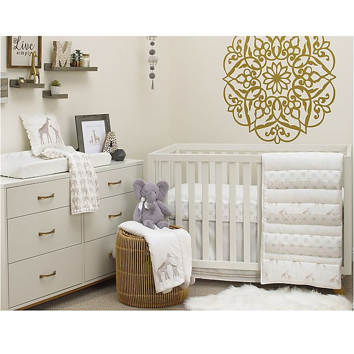 Alternate image 1 for NoJo Serendipity 4-Piece Crib Bedding Set in Taupe
