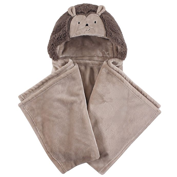 Alternate image 1 for Hudson Baby® Hedgehog Plush Hooded Blanket in Brown