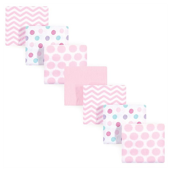 Alternate image 1 for Luvable Friends® 7-Pack Dots Flannel Receiving Blankets in Pink