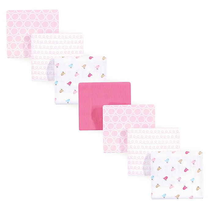 Alternate image 1 for Luvable Friends® 7-Pack Birdies Flannel Receiving Blankets in Pink