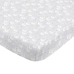 NoJo® Swan Fitted Crib Sheet in Grey