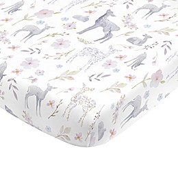 NoJo® Floral Deer Fitted Crib Sheet in Grey