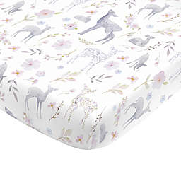 NoJo® Floral Deer Fitted Crib Sheet in Grey