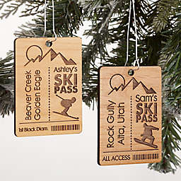 Ski Ticket Personalized Wood Ornament