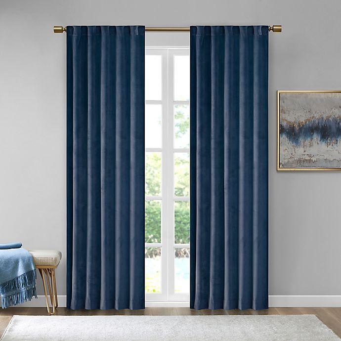 Alternate image 1 for 510 Design Colt Velvet 63-Inch Rod Pocket Room Darkening Window Curtain Panel Pair in Navy