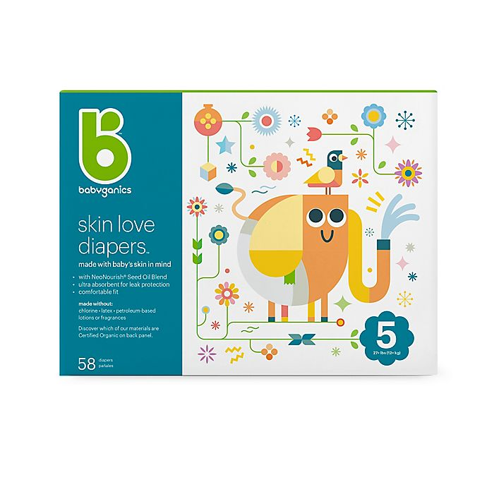 Alternate image 1 for Babyganics® 58-Count Size 5 Ultra Absorbent Diapers