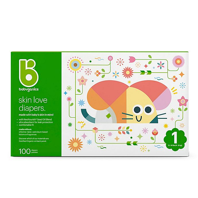 Alternate image 1 for Babyganics® 100-Count Size 1 Ultra Absorbent Diapers
