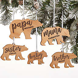 Bear Family Personalized Wood Christmas Ornament