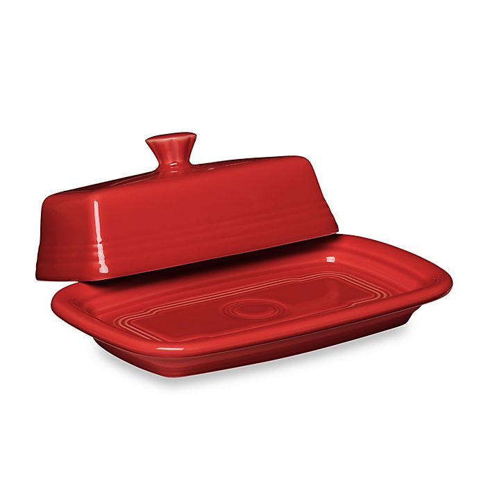 Alternate image 1 for Fiesta® Extra-Large Covered Butter Dish in Scarlet