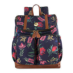 OiOi Australian Floral Backpack Diaper Bag in Navy